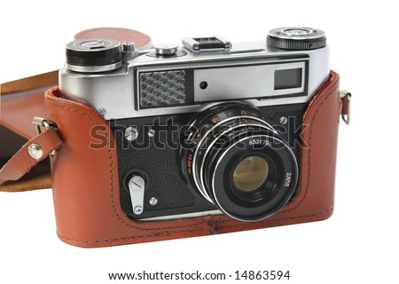 Retro photocamera in a leather case. Object over white - stock photo