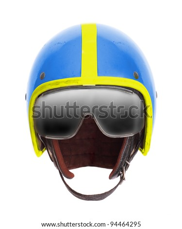 Retro pilot helmet with goggles on a white background. - stock photo