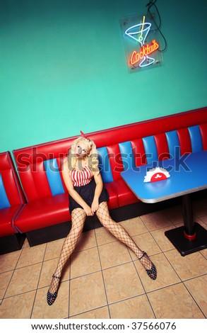 Retro pin up girl similar available in my portfolio - stock photo