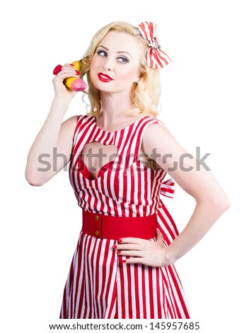 Retro pin up woman placing organic food order on banana phone. Healthy eating communication - stock photo