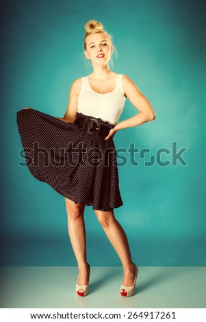 Retro pin up woman style. Beauty young full length girl in studio. Vintage photo. - stock photo