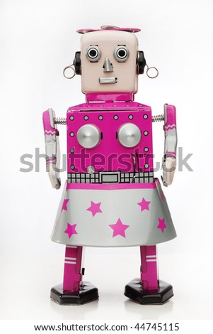 retro pink girl robot - stock photo