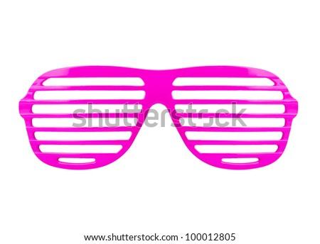 Retro pink shades sunglasses isolated on white background - stock photo