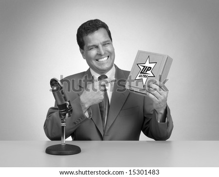 Retro pitch man in black and white from a 1950's era TV commercial - stock photo