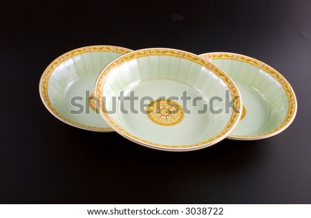 retro plates - stock photo