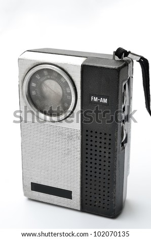 Retro pocket radio on white background