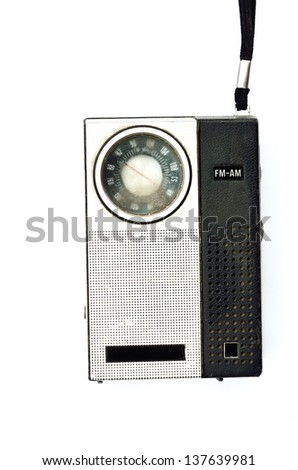 Retro pocket radio on white background, Mass communication concept
