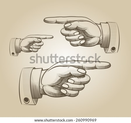Retro pointing. Vintage and direction, finger-pointing and showing - stock photo