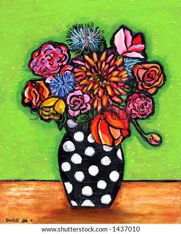 Retro Polka Dot Bouquet Illustration/Painting - stock photo