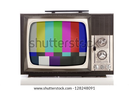 retro portable television on white background - stock photo