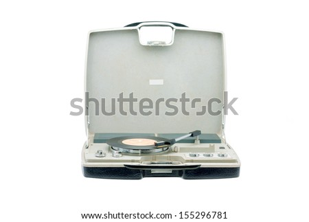 Retro portable turntable isolated on white - stock photo