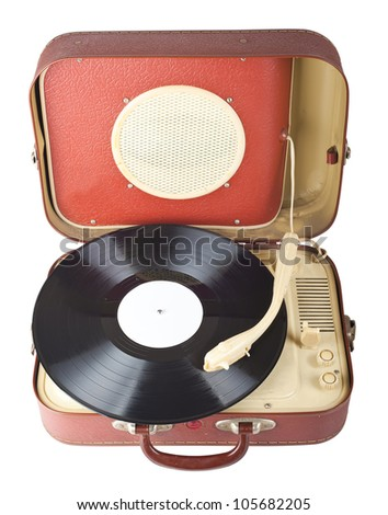 Retro portable turntable isolated on white background - stock photo