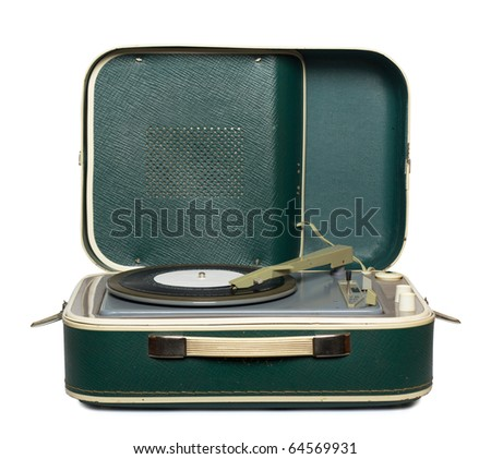 retro portable turntable with vinyl record isolated on white - stock photo