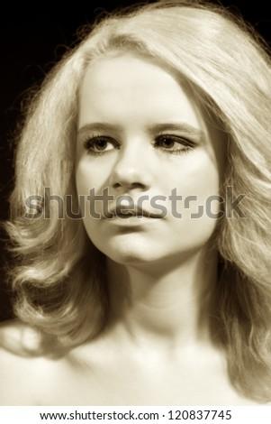 retro portrait - stock photo