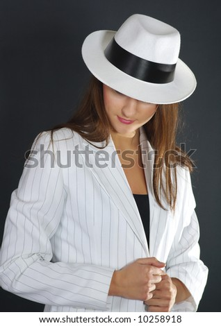 retro portrait in white hat