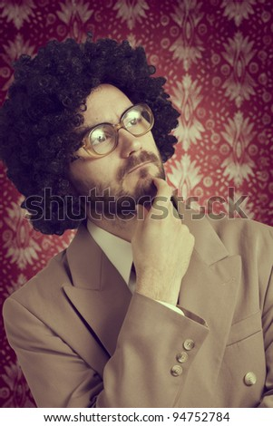 Retro portrait of a businessman who thinks