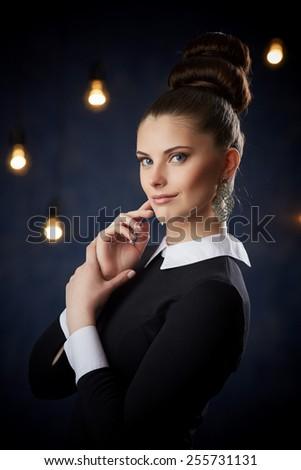 Retro portrait of a sexy model in studio  - stock photo