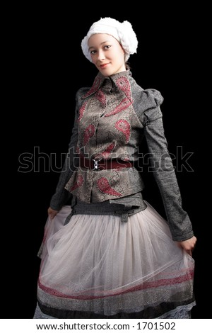 Retro portrait of a styled professional model. Shot in studio.  Isolated with clipping path. - stock photo