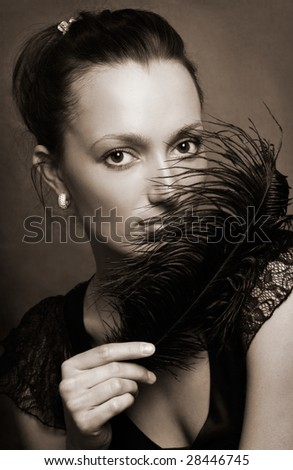 Retro portrait of beautiful model - stock photo