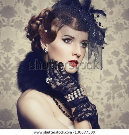 Retro portrait of  beautiful woman. Vintage style. Fashion photo - stock photo