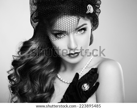 Retro portrait of  beautiful woman. Vintage style. Fashion photo. Black and white - stock photo