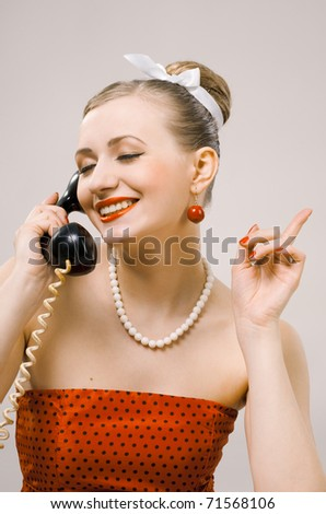 Retro portrait with handset, wired phone - stock photo