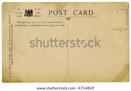 retro post card isolated on white with  clipping path - stock photo
