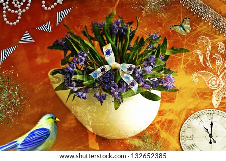 retro post card with teapot,snowdrops,bird and clock - stock photo