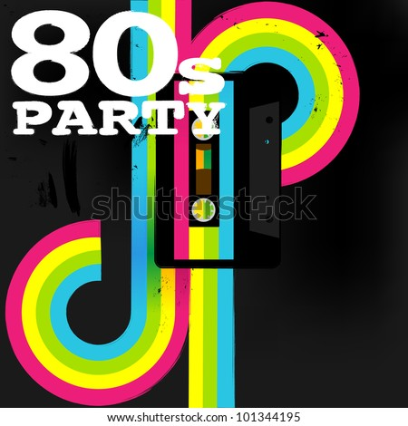 Retro Poster - 80s Party Flyer With Audio Cassette Tape - stock photo