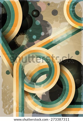 Retro poster template with bubbles, circles, lines and paint splashes. 1960s, 70s style grunge background.  - stock photo