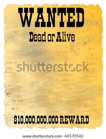 Retro poster - Wanted in Wild West style - stock photo