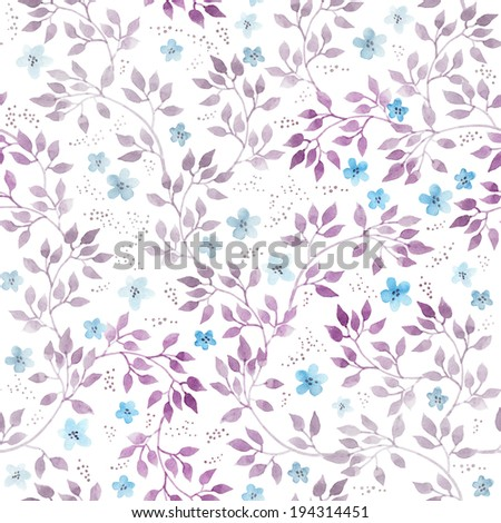 Retro pretty primitive flowers and leaves. Seamless floral template. Hand drawn vintage watercolor on white background. - stock photo