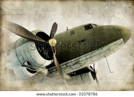 Retro propeller airplain - stock photo