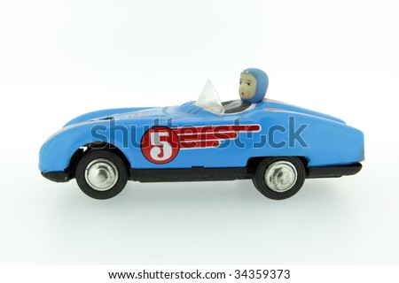 retro race car with number 5 fiver - stock photo
