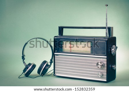 Retro radio and headphones - stock photo