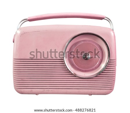 Retro radio isolate on white, vintage technology - pastel color