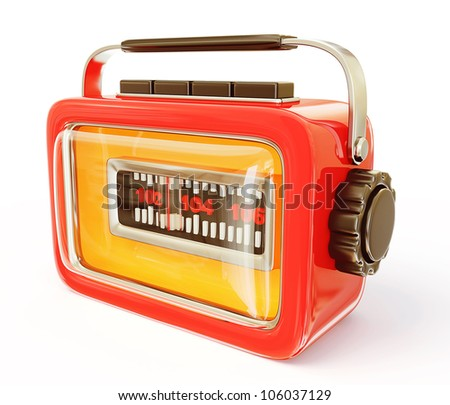 retro radio isolated on a white background - stock photo