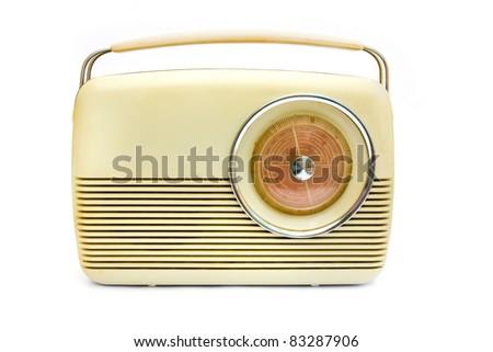 Retro radio isolated on white - stock photo