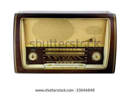 Retro radio isolated on white background. - stock photo