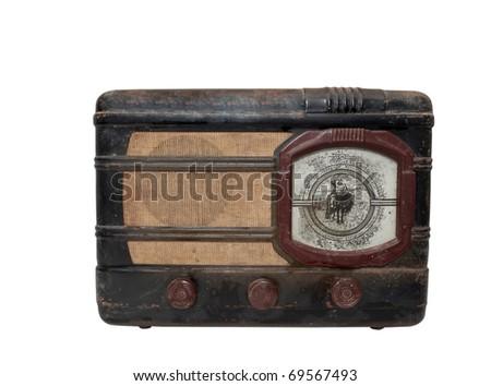 Retro Radio on a white background - stock photo