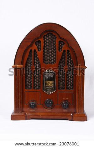 Retro radio on isolated background - stock photo