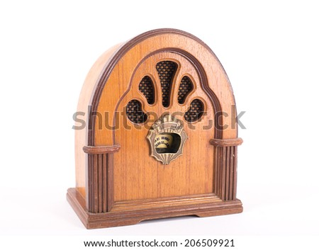 retro radio on isolated white background - stock photo