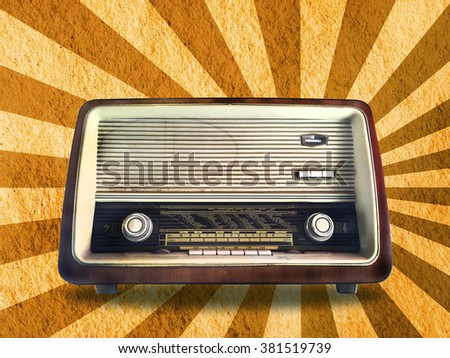 Retro radio on starburst background, vintage style effect - stock photo