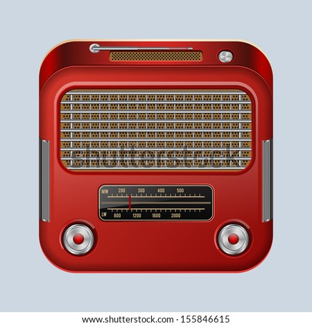 Retro radio receiver. Raster version of vector illustration. - stock photo