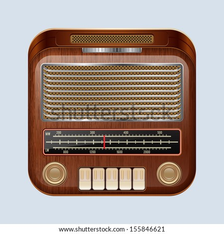 Retro radio receiver. Raster version of vector illustration.