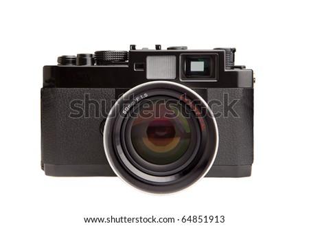 Retro rangefinder camera isolated on white - stock photo