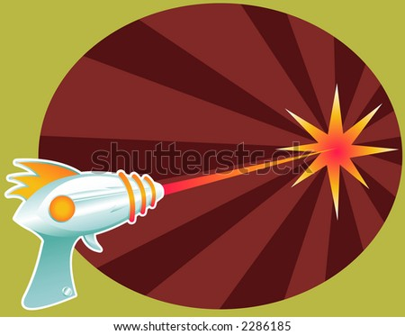 Retro raygun blasting laser death rays into the distance... - stock photo