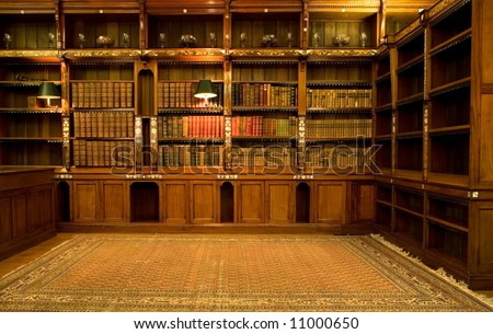 Retro reading room with old books - stock photo