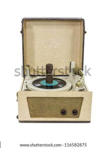 Retro record player from the 1960's with clipping path. - stock photo