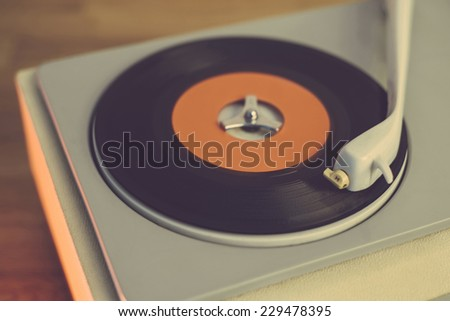 Retro record player from the sixties, close up - stock photo